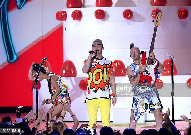 Recording artists JinJoo Lee Joe Jonas and Cole Whittle of music group DNCE perform onstage during Nickelodeon's 2016 Kids' Choice Awards at The...