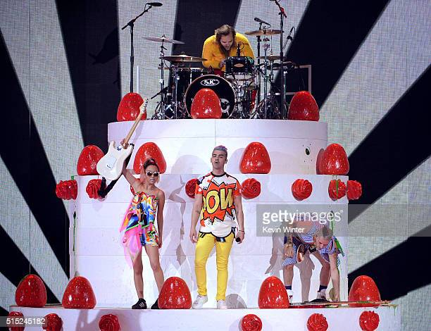 Recording artists JinJoo Lee Joe Jonas Jack Lawless and Cole Whittle of music group DNCE perform onstage during Nickelodeon's 2016 Kids' Choice...