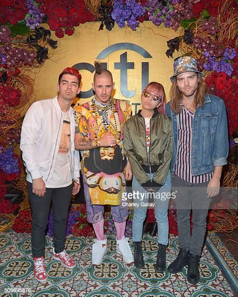 Recording artists Joe Jonas Cole Whittle JinJoo Lee and Jack Lawless of DNCE attend the Citi Celebrates 2016 Billboard Power 100 on February 12 2016...