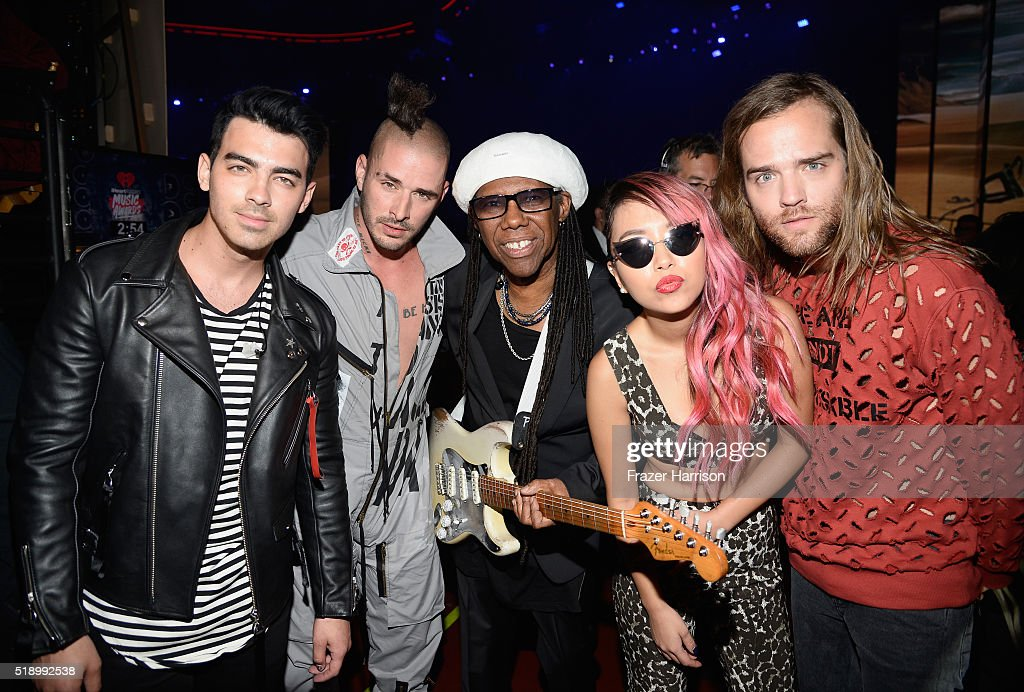 Recording artists Joe Jonas, Cole Whittle, Nile Rodgers, JinJoo Lee, and Jack Lawless backstage at the iHeartRadio Music Awards which broadcasted live on TBS, TNT, AND TRUTV from The Forum on April 3, 20