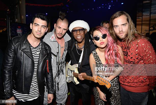 Recording artists Joe Jonas Cole Whittle Nile Rodgers JinJoo Lee and Jack Lawless backstage at the iHeartRadio Music Awards which broadcasted live on...