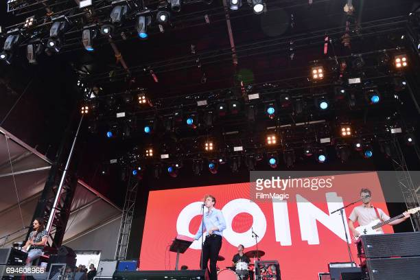 Recording artists Joe Memmel, Chase Lawrence, Ryan Winnen, and Zachary Dyke of Coin perform onstage at Which Stage during Day 3 of the 2017 Bonnaroo...