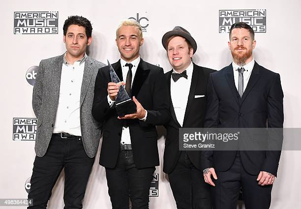 Recording artists Joe Trohman Pete Wentz Patrick Stump and Andy Hurley of Fall Out Boy winners of Favorite Alternative Artist poses in the press room...