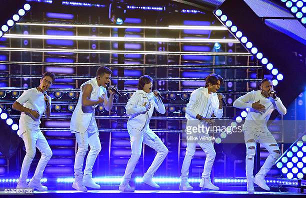 Recording artists Joel Pimentel, Zabdiel De Jesus, Christopher Velez, Erick Brian Colon and Richard Camacho of CNCO perform onstage during the 2016...