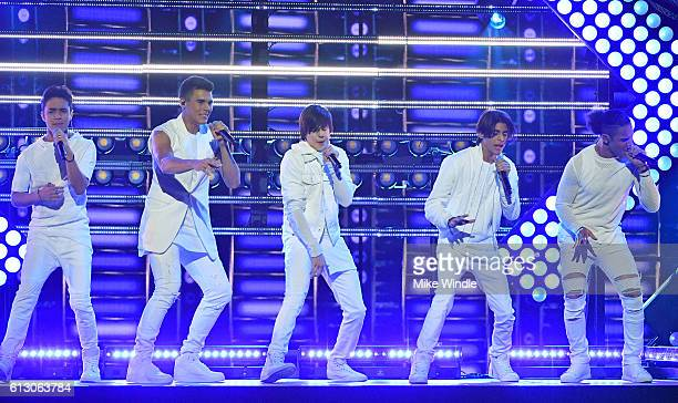 Recording artists Joel Pimentel Zabdiel De Jesus Christopher Velez Erick Brian Colon and Richard Camacho of CNCO perform onstage during the 2016...