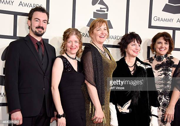 Recording artists Joel Savoy, Ann Savoy, Jane Vidrine, Ann Savoy and Lisa Trahan of The Magnolia Sisters attend The 57th Annual GRAMMY Awards at the...