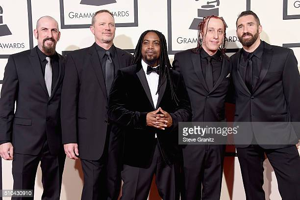 Recording artists John Connolly Vince Hornsby Lajon Witherspoon Morgan Rose and Clint Lowery of Sevendust attend The 58th GRAMMY Awards at Staples...
