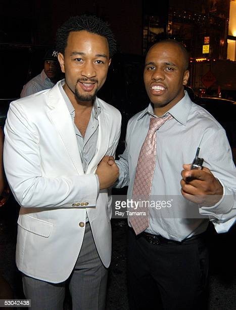 Recording artists John Legend and Consequence attend Kanye West's Birthday Party at Bulgari June 8 2005 in New York City