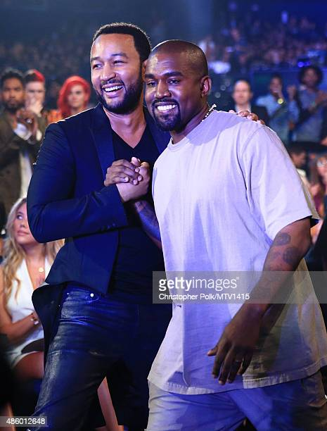 Recording artists John Legend and Kanye West attend the 2015 MTV Video Music Awards at Microsoft Theater on August 30 2015 in Los Angeles California