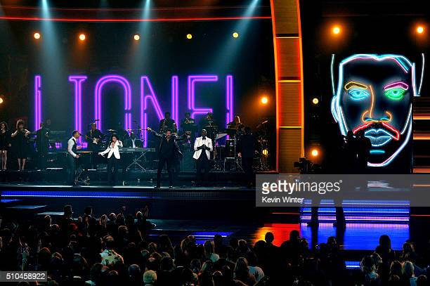 Recording artists John Legend Demi Lovato 2016 MusiCares Person of the Year honoree Lionel Richie and recording artist Tyrese Gibson perform onstage...