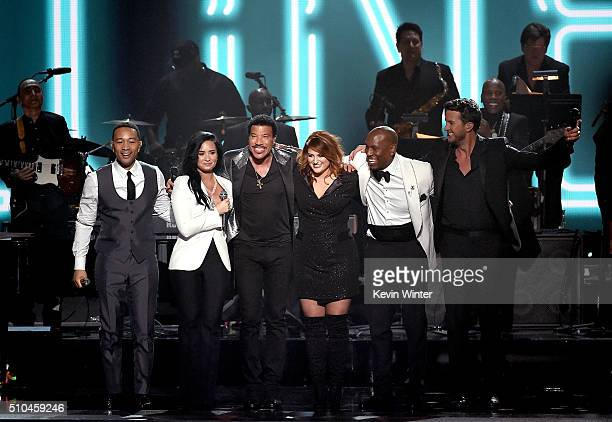 Recording artists John Legend Demi Lovato 2016 MusiCares Person of the Year honoree Lionel Richie recording artists Meghan Trainor Tyrese Gibson and...