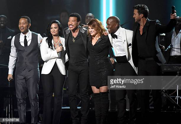Recording artists John Legend, Demi Lovato, 2016 MusiCares Person of the Year honoree Lionel Richie, recording artists Meghan Trainor, Tyrese Gibson...