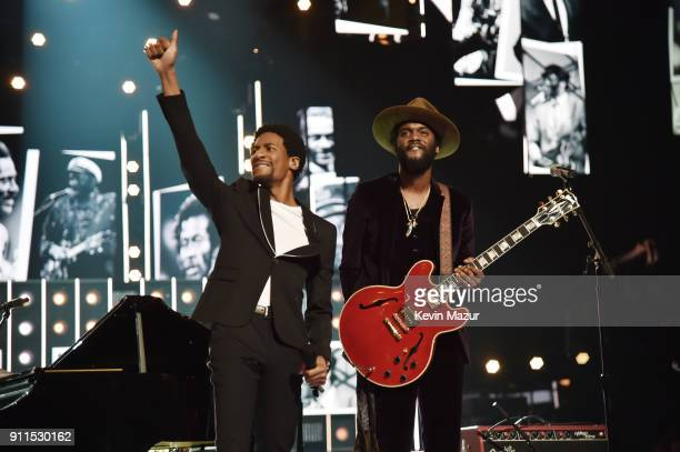 Recording artists Jon Batiste and Gary Clark Jr perform onstage during the 60th Annual GRAMMY Awards at Madison Square Garden on January 28 2018 in...