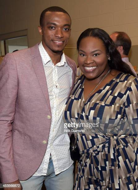 Recording Artists Jonathan McReynolds and Tasha Cobbs attend the 45th Annual GMA Dove Awards Nominations Press Conference at Allen Arena on Lipscomb...