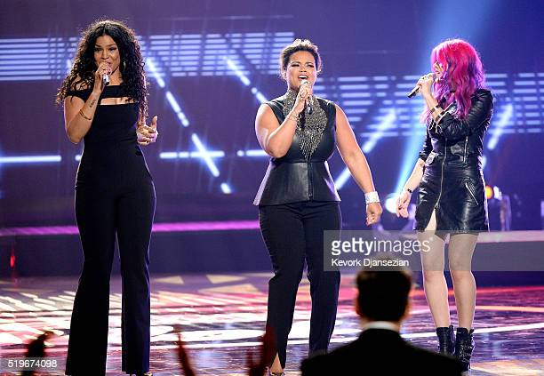 Recording artists Jordin Sparks Kimberley Locke and Allison Iraheta perform onstage during FOX's 'American Idol' Finale For The Farewell Season at...