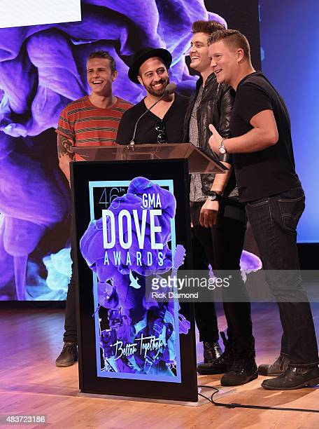 Recording Artists Joseph Habedank and Christian Rock Group Audio Adrenaline attend the 46th Annual GMA Dove Awards Nominations Press Conference at...