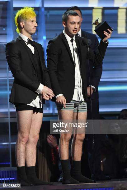 Recording artists Josh Dun and Tyler Joseph of music group Twenty One Pilots accept the Best Pop Duo/Group Performance award for 'Stressed Out'...