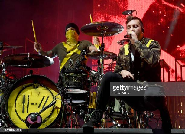 Recording artists Josh Dun and Tyler Joseph of Twenty One Pilots perform during a stop of The Bandito Tour at MGM Grand Garden Arena on October 30...