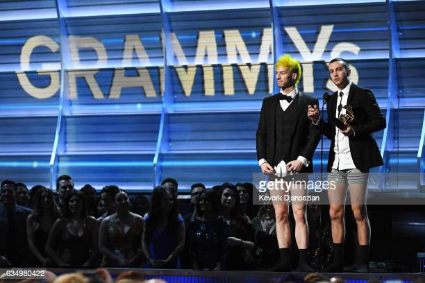 Recording artists Josh Dun and Tyler Joseph of Twenty One Pilots accept the award for Best Pop Duo/Group Performance onstage during The 59th GRAMMY...