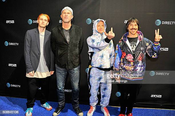 Recording artists Josh Klinghoffer Chad Smith Flea and Anthony Kiedis of Red Hot Chili Peppers attend DirecTV Super Saturday Night Cohosted by Mark...