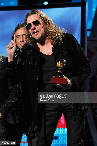 Recording artists Juan Calleros and Fher Olvera music group Mana accept the Best Pop/Rock Album award for Cama Incendiada onstage during the 16th...