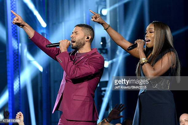 Recording artists Jussie Smollett and Estelle perform onstage during the 2015 Billboard Music Awards at MGM Grand Garden Arena on May 17 2015 in Las...
