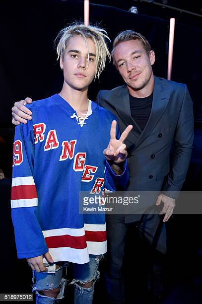 Recording artists Justin Bieber and Diplo pose backstage at the iHeartRadio Music Awards which broadcasted live on TBS TNT AND TRUTV from The Forum...