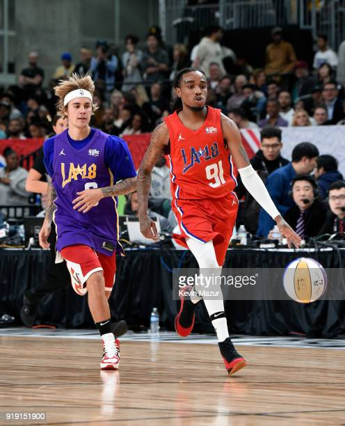 Recording artists Justin Bieber and Quavo play during the NBA AllStar Celebrity Game 2018 presented by Ruffles at Verizon Up Arena at LACC on...