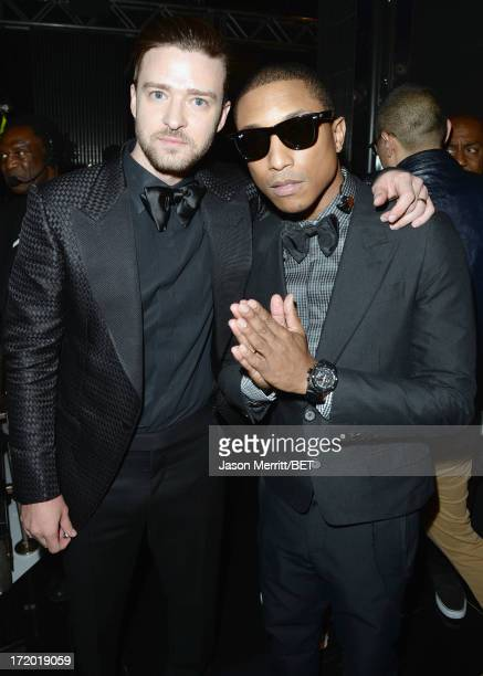 Recording Artists Justin Timberlake and Pharrell Williams pose backstage during the 2013 BET Awards at Nokia Theatre LA Live on June 30 2013 in Los...