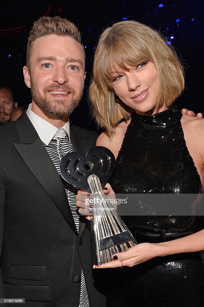 Recording artists Justin Timberlake (L) and Taylor Swift attends the iHeartRadio Music Awards which broadcasted live on TBS, TNT, AND TRUTV from The Forum on April 3, 2016 in Inglewood, California.
