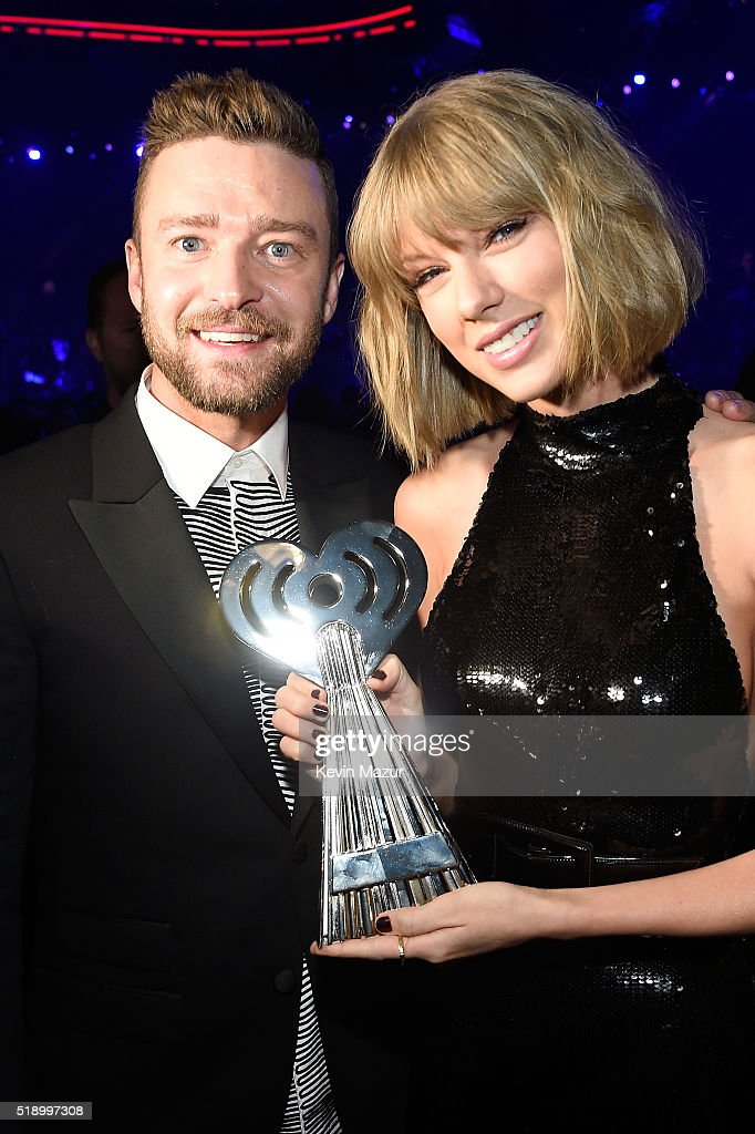Recording artists Justin Timberlake (L) and Taylor Swift backstage at the iHeartRadio Music Awards which broadcasted live on TBS, TNT, AND TRUTV from The Forum on April 3, 2016 in Inglewood, California.