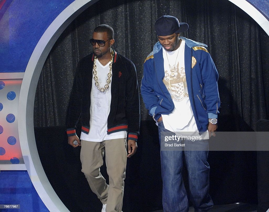 Recording artists Kanye West (L) and 50 Cent appear on BET's 106 & Park at BET Studios September 11, 2007 in New York City.