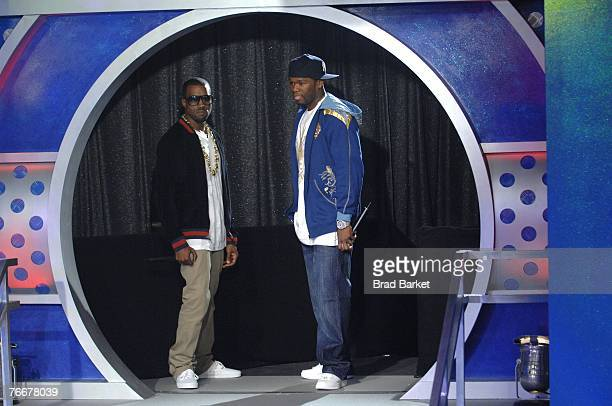 Recording Artists Kanye West And 50 Cent Appear On Bets 106 Park At Bet Studios September