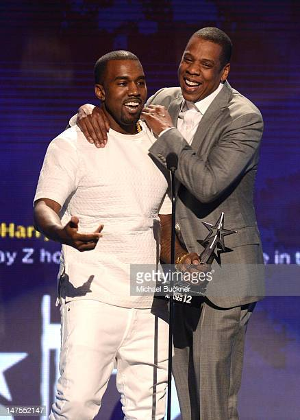Recording artists Kanye West and JayZ accept the award for Video of the Year onstage during the 2012 BET Awards at The Shrine Auditorium on July 1...