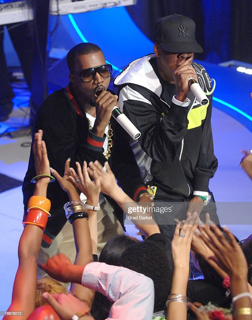 Recording artists Kanye West (L) and Jay-Z appear on BET's 106 & Park at BET Studios September 11, 2007 in New York City.