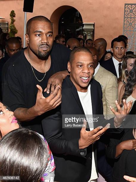 Recording artists Kanye West and JayZ attend Roc Nation and Three Six Zero PreGRAMMY Brunch 2015 at Private Residence on February 7 2015 in Beverly...