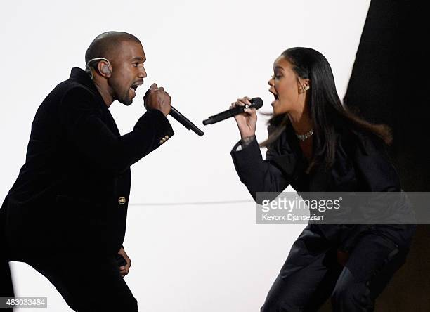 Recording artists Kanye West and Rihanna perform 'FourFiveSeconds' onstage during The 57th Annual GRAMMY Awards at the at the STAPLES Center on...