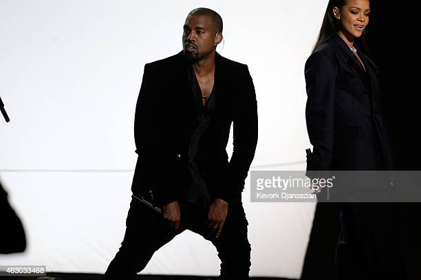 Recording artists Kanye West and Rihanna perform FourFiveSeconds onstage during The 57th Annual GRAMMY Awards at the at the STAPLES Center on...