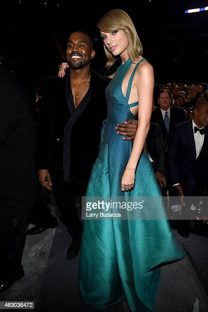 Recording Artists Kanye West and Taylor Swift attend The 57th Annual GRAMMY Awards at the STAPLES Center on February 8 2015 in Los Angeles California