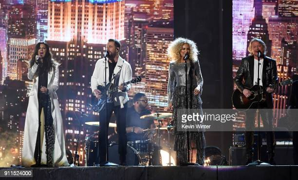 Recording artists Karen Fairchild Jimi Westbrook Kimberly Schlapman and Philip Sweet of music group Little Big Town perform onstage during the 60th...