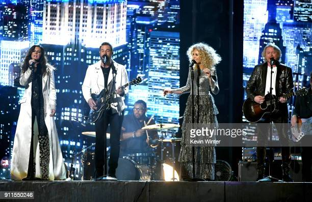 Recording artists Karen Fairchild Jimi Westbrook Kimberly Schlapman and Philip Sweet of musical group Little Big Town perform onstage during the 60th...