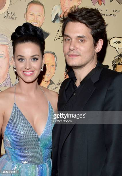 Recording artists Katy Perry and John Mayer attend Sony Music Entertainment PostGrammy Reception at The Palm on January 26 2014 in Los Angeles...