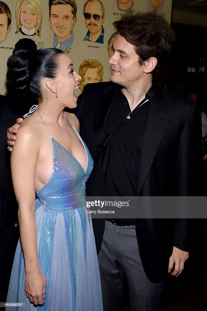 Recording artists Katy Perry and John Mayer attend the Sony