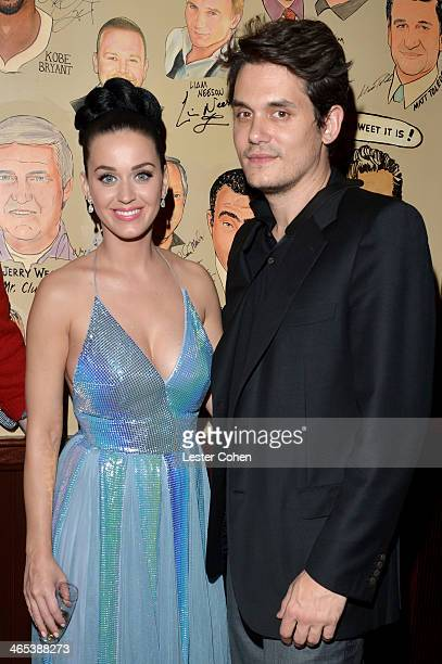 Recording artists Katy Perry and John Mayer attend the Sony Music Entertainment PostGrammy Reception at The Palm on January 26 2014 in Los Angeles...