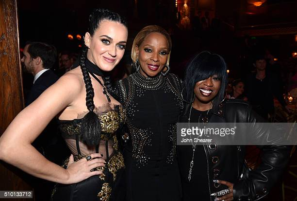 Recording artists Katy Perry Mary J Blige and Missy Elliot attend The Creators Party Presented by Spotify Cicada Los Angeles at Cicada on February 13...