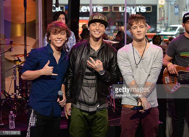 Recording artists Keaton Stromberg Wesley Stromberg and Drew Chadwick of Emblem3 perform on ABC's 'Good Morning America' at the ABC Studios in Times...