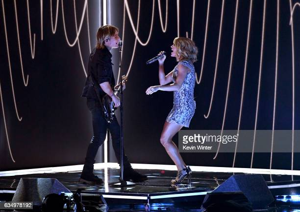 Recording artists Keith Urban and Carrie Underwood perform onstage during The 59th GRAMMY Awards at STAPLES Center on February 12 2017 in Los Angeles...