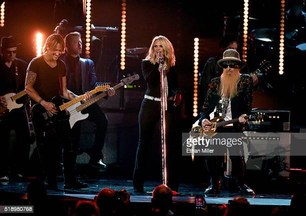 Recording artists Keith Urban Miranda Lambert and Billy Gibbons perform onstage during the 51st Academy of Country Music Awards at MGM Grand Garden...
