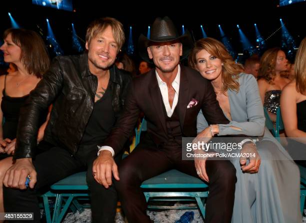 Recording artists Keith Urban Tim McGraw and Faith Hill attend the 49th Annual Academy of Country Music Awards at the MGM Grand Garden Arena on April...
