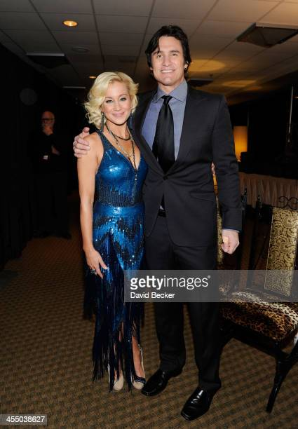 Recording artists Kellie Pickler and Joe Nichols attend the Backstage Creations Celebrity Retreat at the American Country Awards 2013 at the Mandalay...